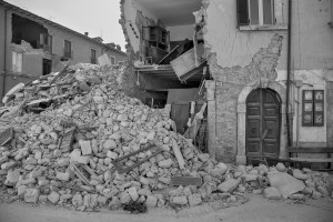 LAZIO, ITALY – AUGUST 24: Collapsed buildings are seen after a strong earthquake hit Amatrice on August 24, 2016. Italy was struck by a powerful, 6.2-magnitude earthquake in the night, which has killed at least 297 people and devastated dozens of houses in the Lazio village of Amatrice.