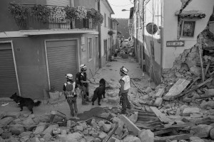 LAZIO, ITALY – AUGUST 24: Rescuers search for victims in the rubble after a strong earthquake hit Amatrice on August 24, 2016. Italy was struck by a powerful, 6.2-magnitude earthquake in the night, which has killed at least 297 people and devastated dozens of houses in the Lazio village of Amatrice.