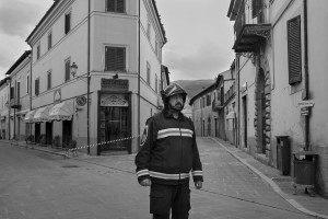NORCIA, ITALY, NOVEMBER 2: A firefighters is seen in the ancient city of Norcia, in Italy, on November 2, 2016. A 6.5 magnitude earthquake hit central Italy on October 30, 2016.