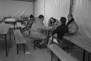 NORCIA, ITALY, OCTOBER 31: Civil protection officials are seen in a tent in Norcia, Italy, on October 31, 2016. A 6.5 magnitude earthquake hit central Italy on October 30, 2016.