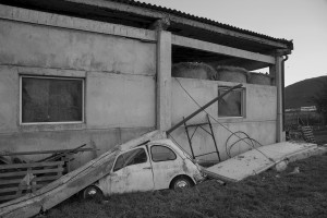 NORCIA, ITALY, NOVEMBER 1: A damaged car is seen near a farm in Norcia, Italy, on November 1, 2016. A 6.5 magnitude earthquake hit central Italy on October 30, 2016.