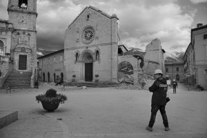 NORCIA, ITALY, NOVEMBER 2: A policeman is seen in front of the St. Benedict's Cathedral in the ancient city of Norcia, in Italy, on November 2, 2016. A 6.5 magnitude earthquake hit central Italy on October 30, 2016.