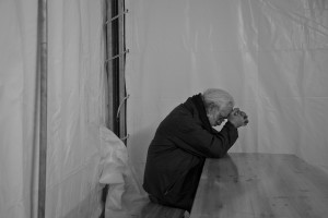 NORCIA, ITALY, OCTOBER 31: A man is seen in despair inside a tent in Norcia, Italy, on October 31, 2016. A 6.5 magnitude earthquake hit central Italy on October 30, 2016.
