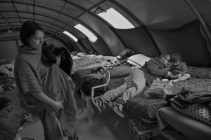 NORCIA, ITALY, NOVEMBER 2: A family is seen inside a tent, in a camp set in Ancarano, near Norcia, Italy, on November 2, 2016. A 6.5 magnitude earthquake hit central Italy on October 30, 2016.