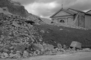 NORCIA, ITALY, NOVEMBER 2: The Saint Anthony church is seen partially collapsed in Norcia, Italy, on November 2, 2016. A 6.5 magnitude earthquake hit central Italy on October 30, 2016.