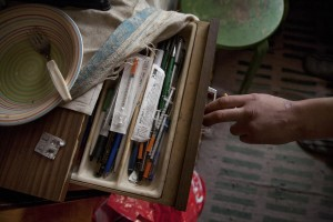 Roland, 28 years old retains syringes and fentanyl doses in the drawer of his bedroom in Majaka district, in Tallinn, Estonia on March 19, 2017. Roland has been using fentanyl for about fifteen years and he is sick of HIV.