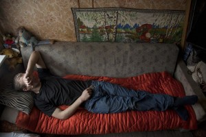 Roland, 28 years old is seen on the bed of his house under the influence of fentanyl in Majaka district, in Tallinn, Estonia on March 19, 2017. Roland has been using fentanyl for about fifteen years and he is sick of HIV.