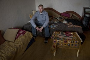 Igor, 33 years old is seen in his house in Lasnamae district where drug addicts usually go to inject fentanyl in Tallinn, Estonia on March 20, 2017. Igor has been using fentanyl for about fifteen years. Before becoming a fentanyl dependent Igor was a military of the Estonian army.