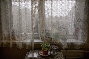 The window of Igor's house in Lasnamae district, an area where drug addicts usually go to inject fentanyl in Tallinn, Estonia on March 22, 2017. Igor has been using fentanyl for about fifteen years, since his wife left him. Before becoming a fentanyl dependent Igor was a military of the Estonian army.