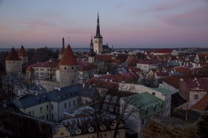A general view of the city from Toompea hill in Tallinn, Estonia on March 17, 2017.