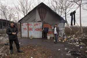 Migrants outside an abandoned warehouse where they are taking refuge, in Belgrade, Serbia on February 3, 2017. Hundreds of migrants have been sleeping in freezing conditions in central Belgrade looking for ways to cross the heavily guarded EU borders.