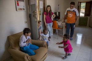 Children play inside the house of Rajuir Sing, an Afghan man and beneficiary of the protection systems for asylum seekers and refugees in Petruro Irpino, southern Italy, on June 14, 2017. Petruro Irpino is an Italian small village with 367 inhabitants in the province of Avellino in Campania, which is claiming to be an efficient model of integration and where people of different religions and coming from different parts in the world peaceful live together.