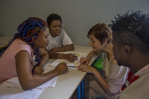 Assunta Tropeano, operator of Petruro Irpino Sprar (Protection systems for asylum seekers and refugees) holds a course of Italian language for migrants inside the headquarter of the Sprar (Protection systems for asylum seekers and refugees) in Petruro Irpino, southern Italy, on June 14, 2017. Petruro Irpino is an Italian small village with 367 inhabitants in the province of Avellino in Campania, which is claiming to be an efficient model of integration and where people of different religions and coming from different parts in the world peaceful live together.