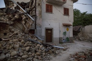 A collapsed building is seen almost one year after the earthquake in the village of Fonte del Campo, central Italy on July 31, 2017. Italy was struck by a powerful 6.2 magnitude earthquake in the night of August 24, 2016 which has killed at least 297 people and devastated dozens of houses in the Lazio village of Amatrice and other Amatrice fractions.