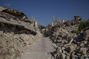 A general view of the red zone almost one year after the earthquake in the village of Amatrice, central Italy on August 1, 2017. Italy was struck by a powerful 6.2 magnitude earthquake in the night of August 24, 2016 which has killed at least 297 people and devastated dozens of houses in the Lazio village of Amatrice and other Amatrice fractions.