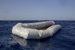 A rubber dinghy is seen in the Mediterranean Sea on November 6, 2017. During a shipwreck, five people died, including a newborn child. According to the German NGO Sea-Watch, which has saved 58 migrants, the violent behavior of the Libyan coast guard caused the death of five persons.