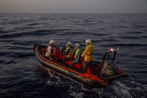 Sea-Watch crew member are seen during training activities to simulate a migrants rescue operation in the Mediterranean sea on November 4, 2017.  Sea-Watch is a non-governmental organisation founded on May, 19 2015 and is formally registered as a non-profit organisation in Berlin.