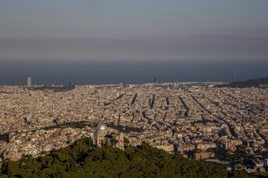A general view of Barcelona fr​om Tibidabo mountain in Barcel​ona, Spain on July 6, 2018. Ti​bidabo is the tallest mountain​ in the Serra de Collserola. R​ising sharply to the north-wes​t, it has views over the city ​and the surrounding coastline.