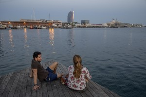 A couple is seen in the port of Barcelona, Spain on July 12, 2018.