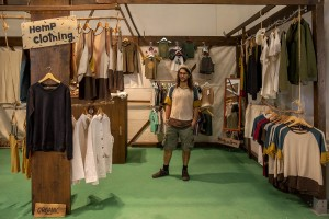 "A shop of hemp clothing inside the industrial hemp and medical cannabis fair ""Canapa in mostra"" in Naples, Italy on October, 26, 2018. According to the Italian law 242 approved in December 2016, the production and marketing of hemp in Italy is legal if cannabis has a content of THC (tetrahydrocannabinol, the active ingredient) which doesn't exceed 0,6%."