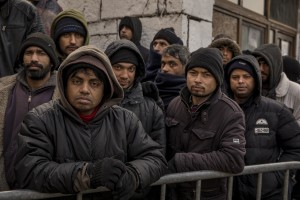 Afghans and Pakistanis migrants waiting for the food distribution near a park in Bihać, Bosnia and Herzegovina on November 28, 2018.