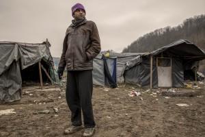 A migrant is seen inside a refugee camp in Velika Kladusa, Bosnia and Herzegovin on November 30, 2018.