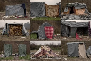 A combo of pictures shows tents inside a refugee camp in Velika Kladusa, Bosnia and Herzegovin on November 30, 2018.