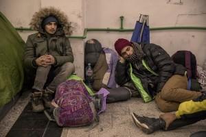 Migrants are seen inside a reception center in Velika Kladusa, Bosnia and Herzegovina on November 30, 2018.