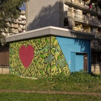 """A mural realized by the street artist Gianluca """"Raro"""" is seen in Scampia district, Naples, Italy on March 9, 2019."""