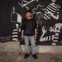 "Francesco, 18 years old is portrayed inside the cultural center ""Santa Fede Liberata"" in Naples, Italy on April 10, 2019. He is very angry that street art is often associated with vandalism."