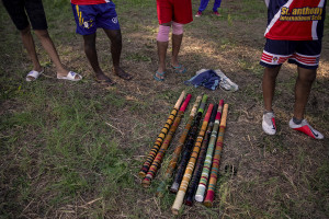 """Elle"" bat made out from well-seasoned bamboo are seen in Naples, Italy on September 29, 2019. Every Sunday hundreds of people belonging to the Sri Lankan community in Italy gather in the ""Real Bosco di Capodimonte"" of Naples and play ""elle"", a very popular Sri Lankan bat-and-ball game, often played in rural villages and urban areas."