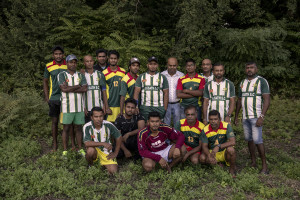 "Players of ""Eksath s.c."" team are portrayed in Naples, Italy on September 29, 2019. Every Sunday hundreds of people belonging to the Sri Lankan community in Italy gather in the ""Real Bosco di Capodimonte"" of Naples and play ""elle"", a very popular Sri Lankan bat-and-ball game, often played in rural villages and urban areas."