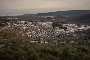 A general view of the Moria refugee camp on the island of Lesbos in Greece on February 19, 2020. About 20000 migrants and asylum seekers – mostly coming from Afghanistan and Syria – live in the official Moria camp and in the olive grove that is located nearby.