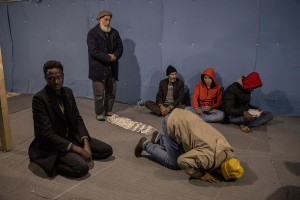 Men from Afghanistan, Syria and Somalia pray inside an informal mosque in the Moria refugee camp on the island of Lesbos in Greece on February 21, 2020. About 20000 migrants and asylum seekers – mostly coming from Afghanistan and Syria – live in the official Moria camp and in the olive grove that is located nearby.