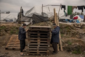 People collect wood to build a tent inside the Moria refugee camp on the island of Lesbos in Greece on February 20, 2020. About 20000 migrants and asylum seekers – mostly coming from Afghanistan and Syria – live in the official Moria camp and in the olive grove that is located nearby.
