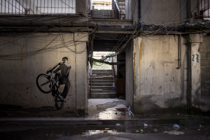 "A stencil is seen inside one of the famous ""vele"" of Scampia, in Naples, Italy on February 12, 2020. The demolition process of one of the Scampia ""vele"" will begin at the end of February."