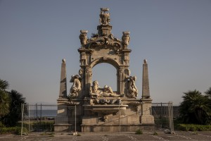 "A general view of the ""Sebeto"" fountain on the eleventh day of unprecedented lockdown across of all Italy imposed to slow the spread of coronavirus in Naples, Southern Italy on March 20, 2020."