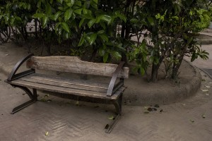 "An empty bench is seen in ""Bellini square"" on the fourteenth day of unprecedented lockdown across of all Italy imposed to slow the spread of coronavirus in Naples, Southern Italy on March 23, 2020."