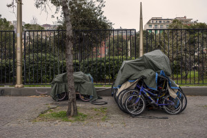 Bicycles covered by a cloth on the waterfront of the city, on the sixteenth day of unprecedented lockdown across of all Italy imposed to slow the spread of coronavirus in Naples, Southern Italy on March 25, 2020.