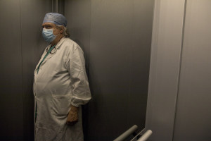 Antonino Marchese, health director of the third Covid 3 Hospital (Istituto clinico CasalPalocco) is seen inside the lift of the hospital during the Coronavirus emergency in Rome, Italy on March 30, 2020. The Italian government is continuing to enforce the nationwide lockdown measures to avoid the spread of the infection in the country.