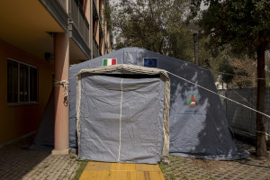 A tent of the Italian Civil Protection is seen outside the third Covid 3 Hospital (Istituto clinico CasalPalocco) during the Coronavirus emergency in Rome, Italy on March 30, 2020. The Italian government is continuing to enforce the nationwide lockdown measures to avoid the spread of the infection in the country.