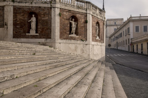 Empty streets of the city center during the Coronavirus emergency in Rome, Italy on March 30, 2020. The Italian government is continuing to enforce the nationwide lockdown measures to avoid the spread of the infection in the country.