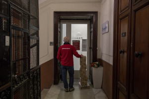 Patrizio, 53 years old and volunteer of the Italian Red Cross for about 1 years distributes food and medicines to a retirement home for the elderly, during coronavirus emergency in Naples, Italy on April 2, 2020.