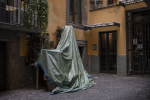 Cribs covered by a towel in a deserted San Gregorio Armeno street during the ninth day of unprecedented lockdown across of all Italy imposed to slow the spread of coronavirus in Naples, Southern Italy on March 18, 2020.