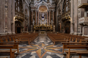 "A general view of the empty ""Gesù Nuovo"" church on the third day of unprecedented lockdown across of all Italy imposed to slow the spread of coronavirus in Naples, Southern Italy on March 12, 2020."