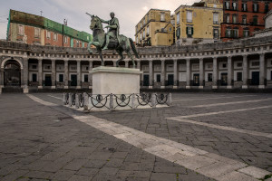 A deserted Plebiscito square after the Italian government locks down whole country as new coronavirus cases surge, in Naples, Italy on March 10, 2020.