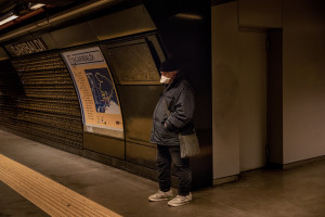 A man wearing a mask is seen inside Garibaldi metro station on the fifth day of unprecedented lockdown across of all Italy imposed to slow the spread of coronavirus in Naples, Southern Italy on March 14, 2020.