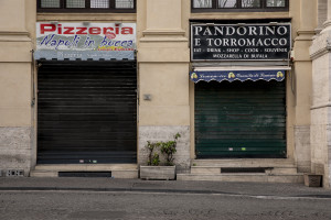 A closed pizzeria of the city center is seen after a decree orders for the whole of Italy to be on lockdown in an unprecedented clampdown aimed to defeat the coronavirus,in Naples, Italy, on March 10, 2020.