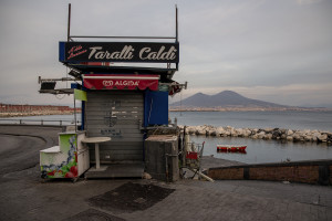 A kiosk on the Naples waterfront after the Italian government locks down whole country as new coronavirus cases surge, in Naples, Italy on March 10, 2020.