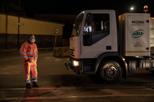 Road sanitation operations on the third day of unprecedented lockdown across of all Italy imposed to slow the spread of coronavirus in Naples, Southern Italy on March 12, 2020.